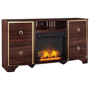 Glam Reddish Brown TV Stand with Fireplace Insert