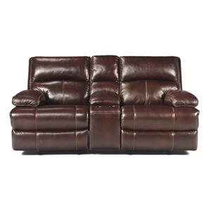 Signature Design by Ashley Lensar - Burgundy Glider REC Loveseat w/Console