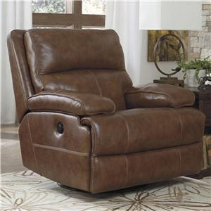 Signature Design by Ashley Lensar - Nutmeg Swivel Power Rocker Recliner