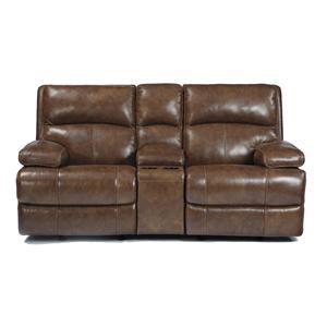Signature Design by Ashley Furniture Lensar - Nutmeg Glider REC PWR Loveseat w/CON