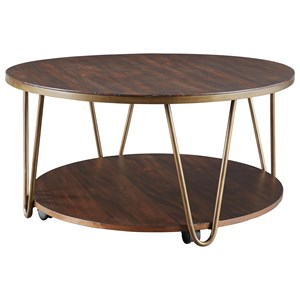 Contemporary Round Cocktail Table with Casters