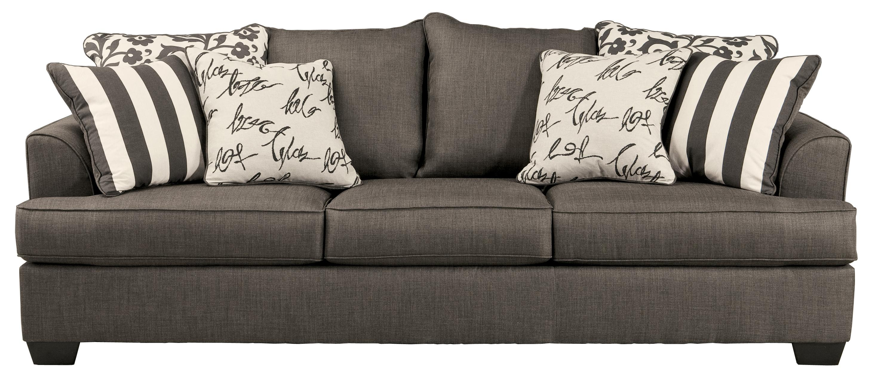 Sofa with Scatterback Pillows and Plush Coil Seat Cushions by