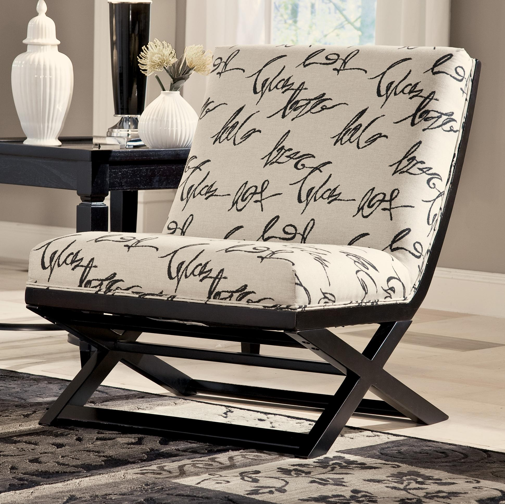 Armless Showood Accent Chair with Abstract Script Fabric by ...
