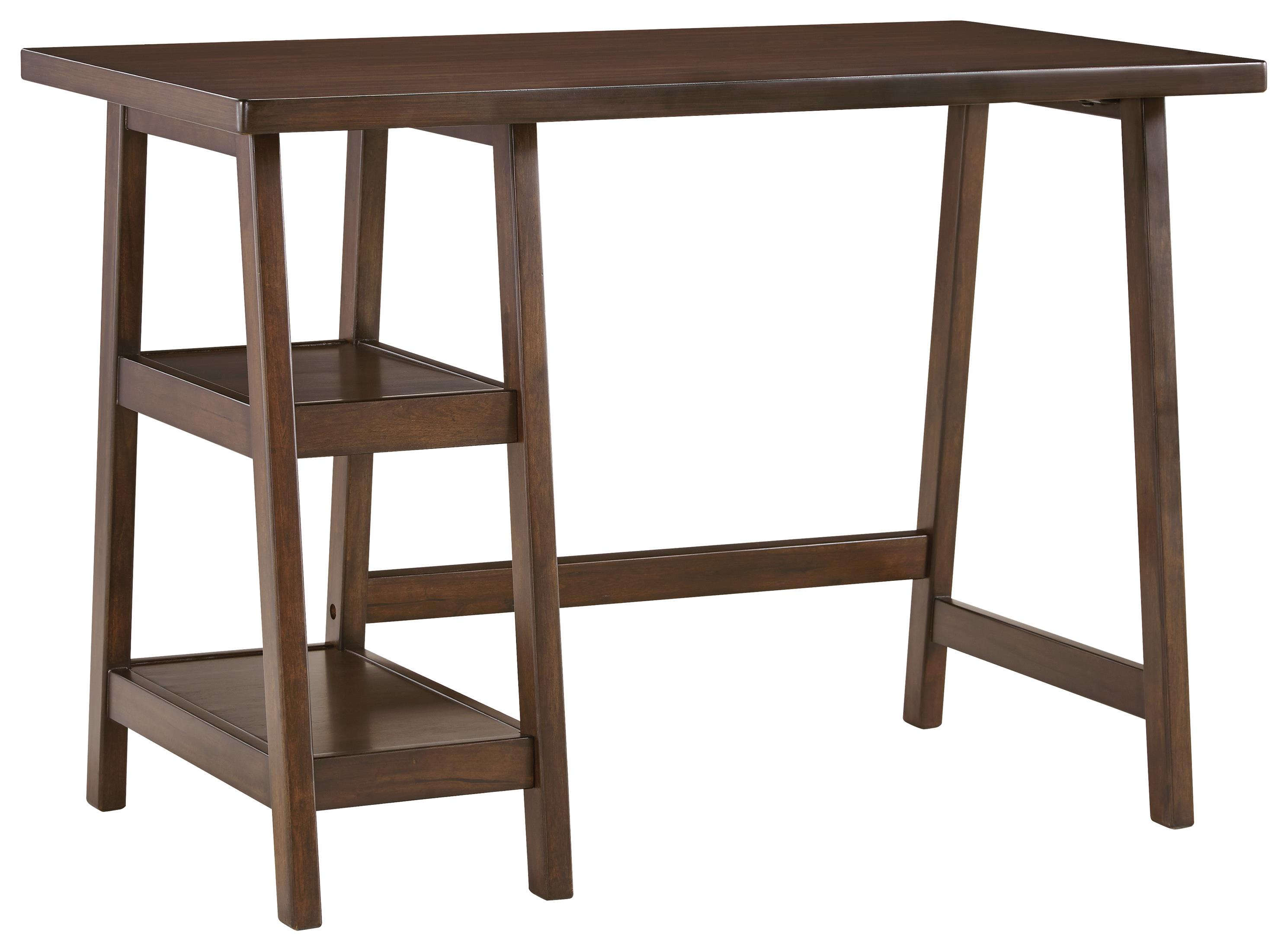 Contemporary Home Office Small Desk with 2 Open Shelves by Signature ...