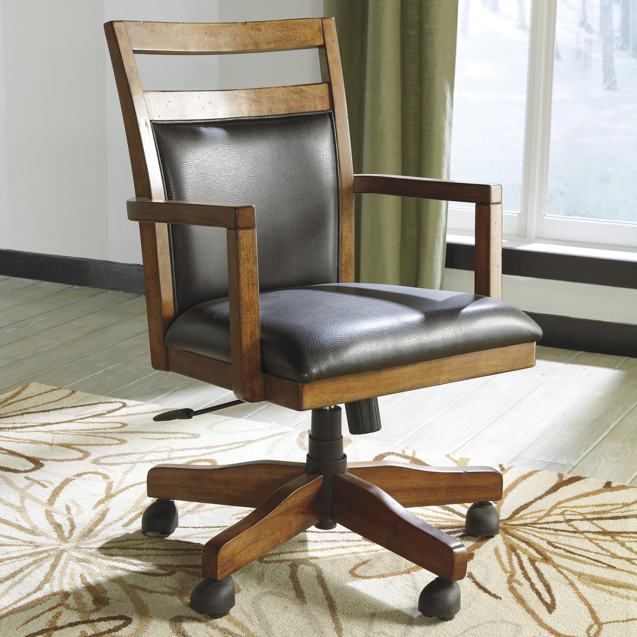 Home office desk chair with cutout detail by signature design by ashley wolf and gardiner wolf - Ashley furniture office desk ...