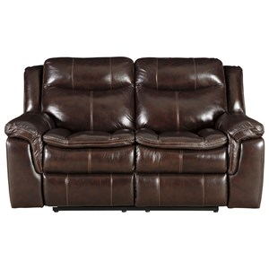 Reclining Loveseat with Padded Arms and Headrest
