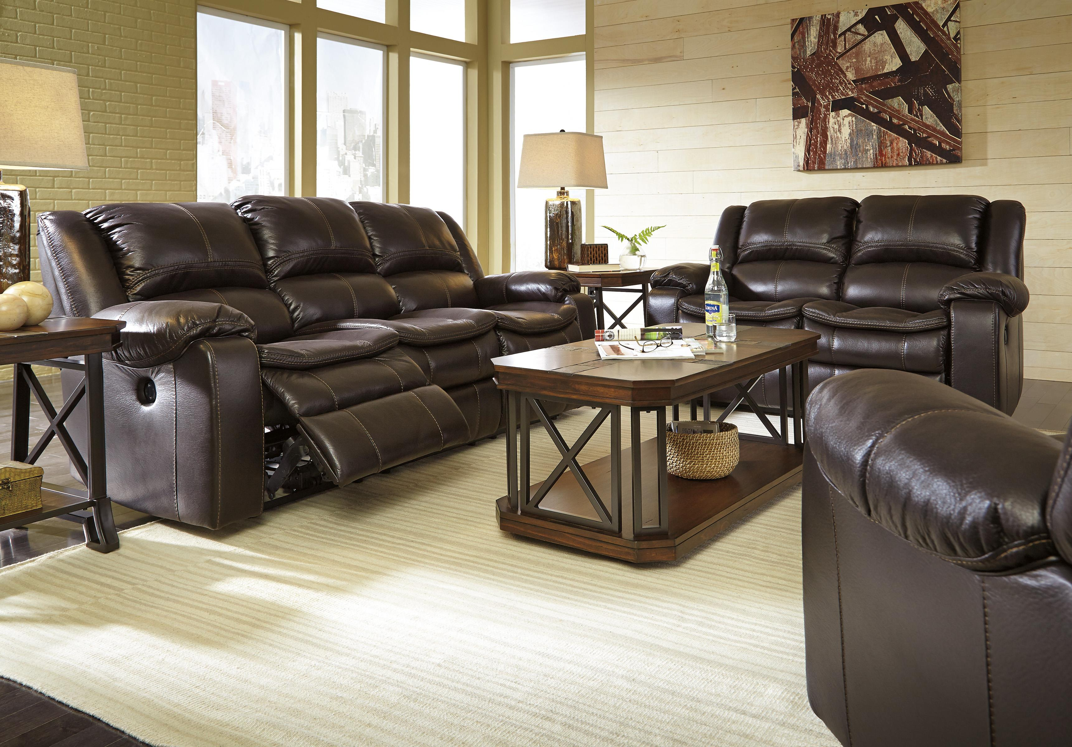 Faux Leather Reclining Power Sofa with Contoured Pillow Top Seats
