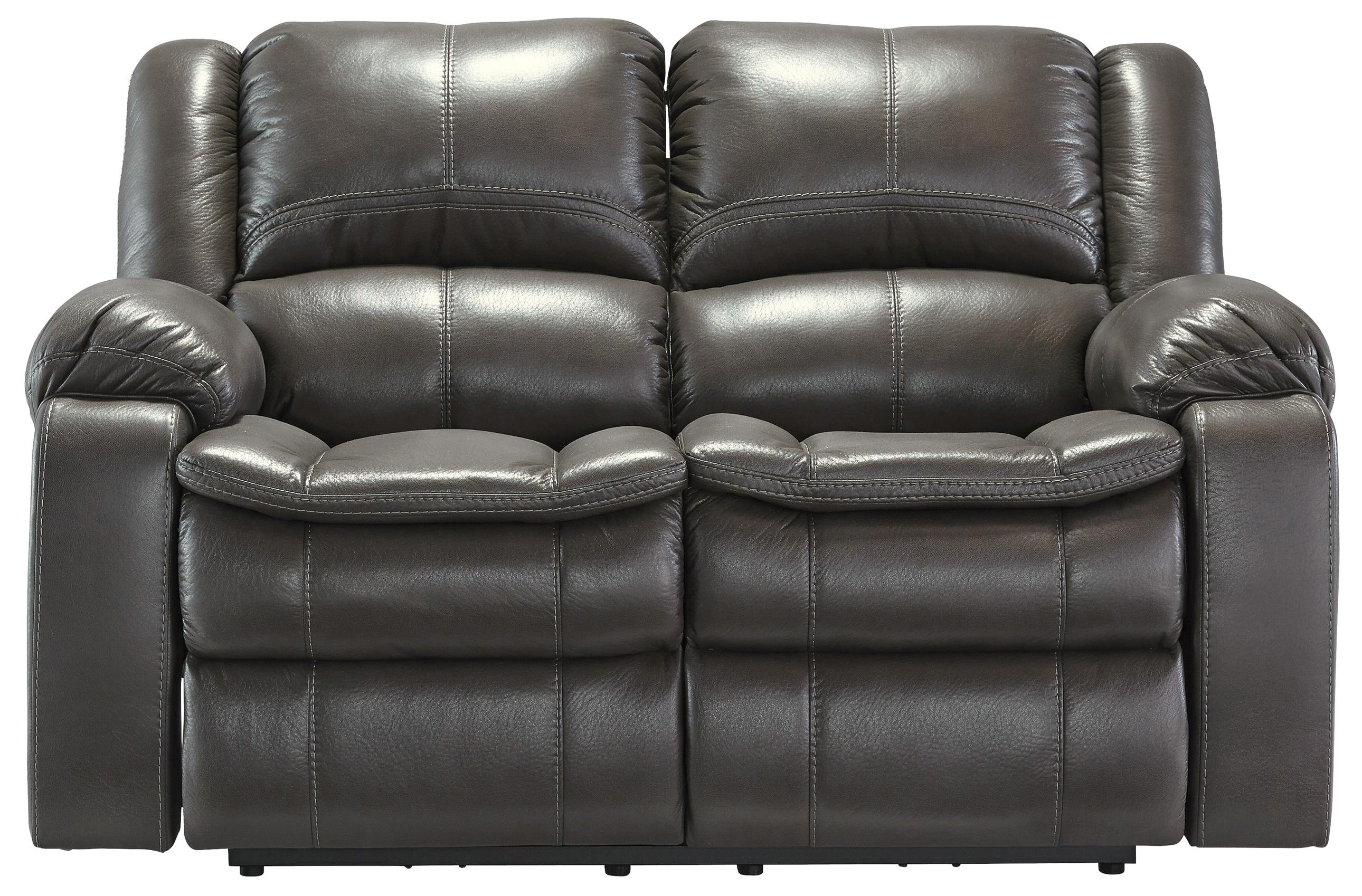 Faux Leather Reclining Power Loveseat With Contoured Pillow Top Seats By Signature Design By