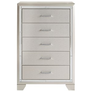 Glam Five Drawer Chest with Mirror Accents