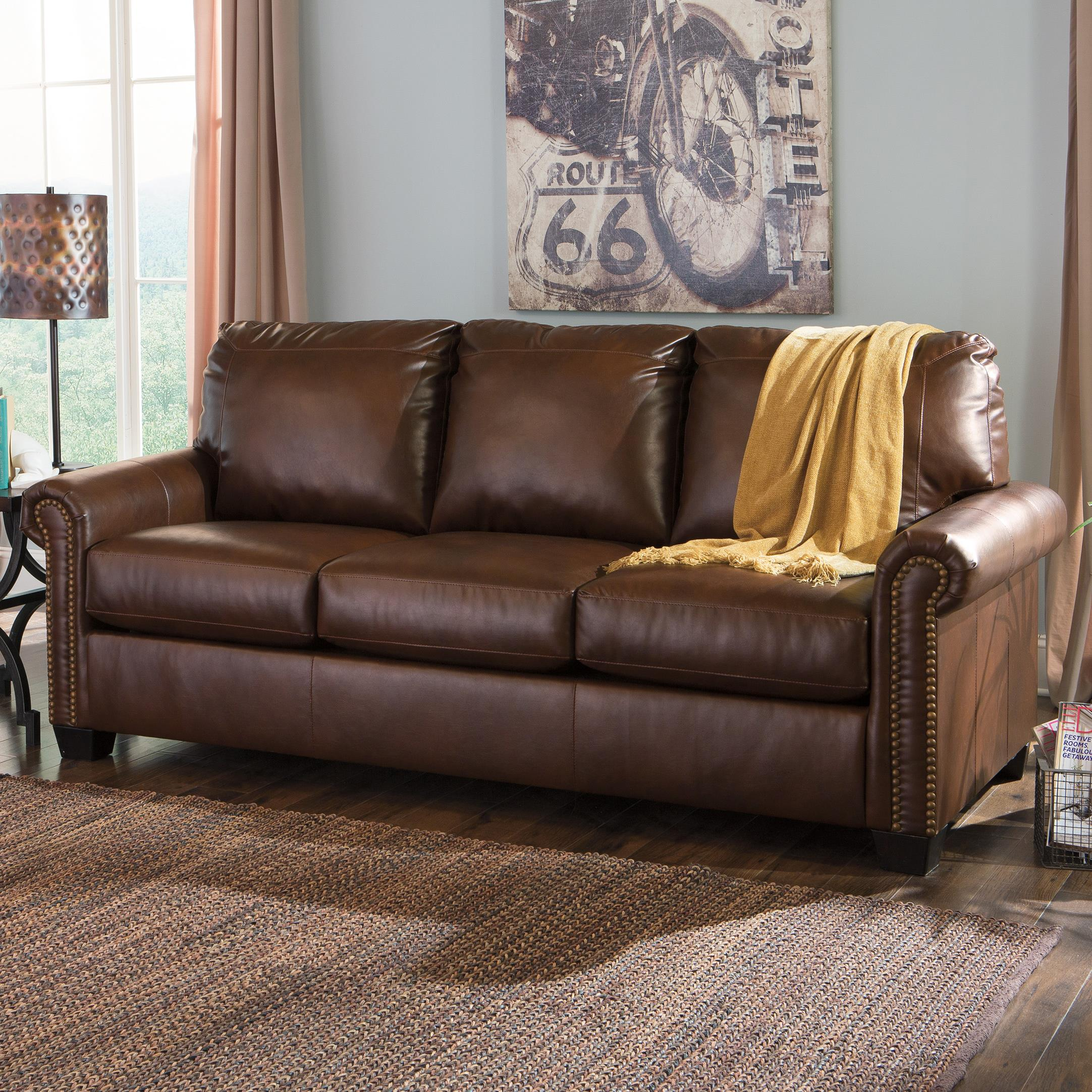 Transitional Bonded Leather Match 84 Queen Sofa Sleeper With  ~ Sofa Sleepers With Memory Foam Mattress