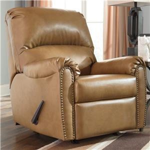 Transitional Bonded Leather Match Rocker Recliner with Nailhead Trim