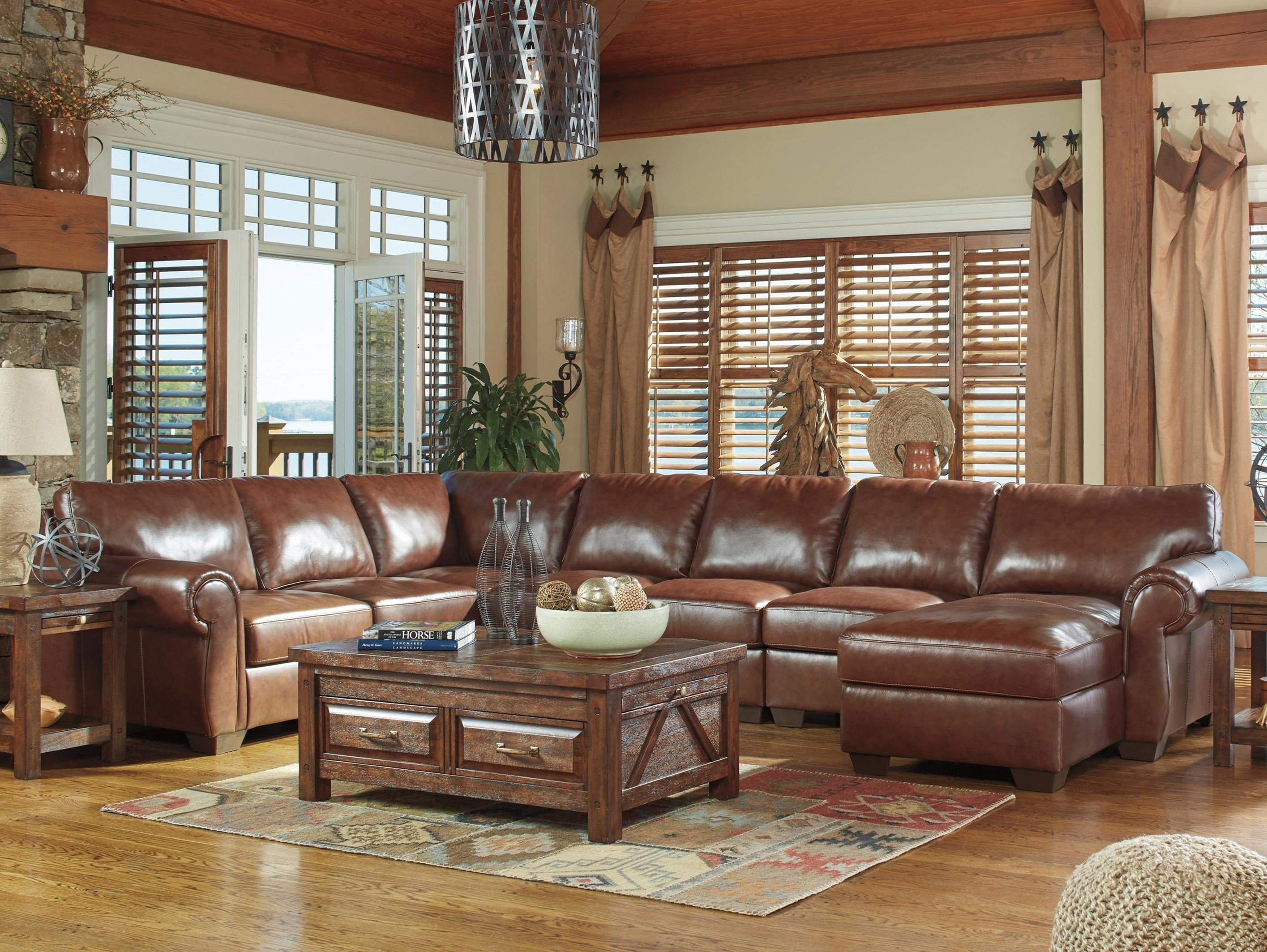 Leather match 5 piece sectional with right chaise by for Ashley leather sectional with chaise