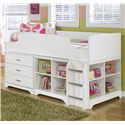 Twin Loft Bed w/ Loft Drawer & Bin Storage