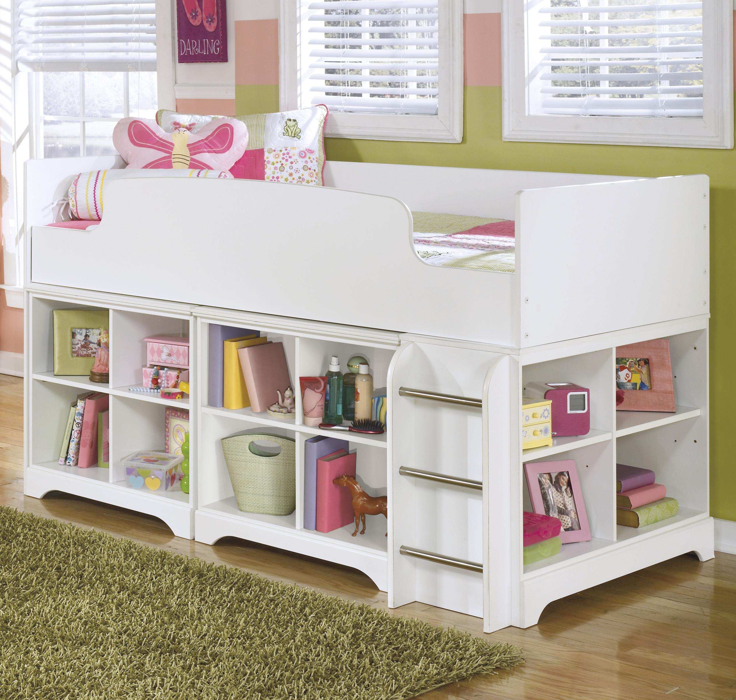 Twin Loft Bed with Loft Bin Storage