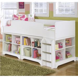 Twin Loft Bed with Loft Bin Storage