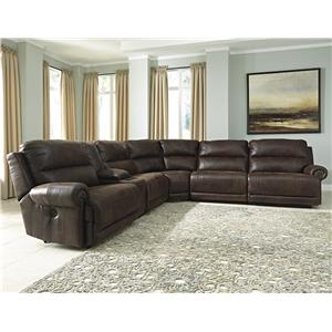 6-Piece Reclining Sectional with Console & Armless Recliners