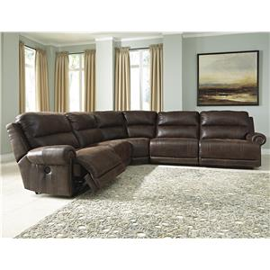 5-Piece Faux Leather Power Reclining Sectional with Armless Recliners