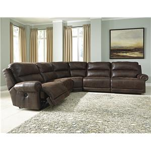 5-Piece Faux Leather Power Reclining Sectional