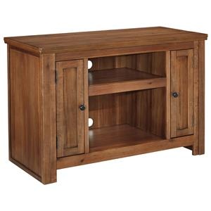 Acacia Veneer TV Stand with 2 Doors and Adjustable Shelves