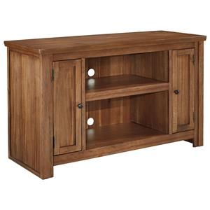 Acacia Veneer Medium TV Stand with 2 Doors and Adjustable Shelves