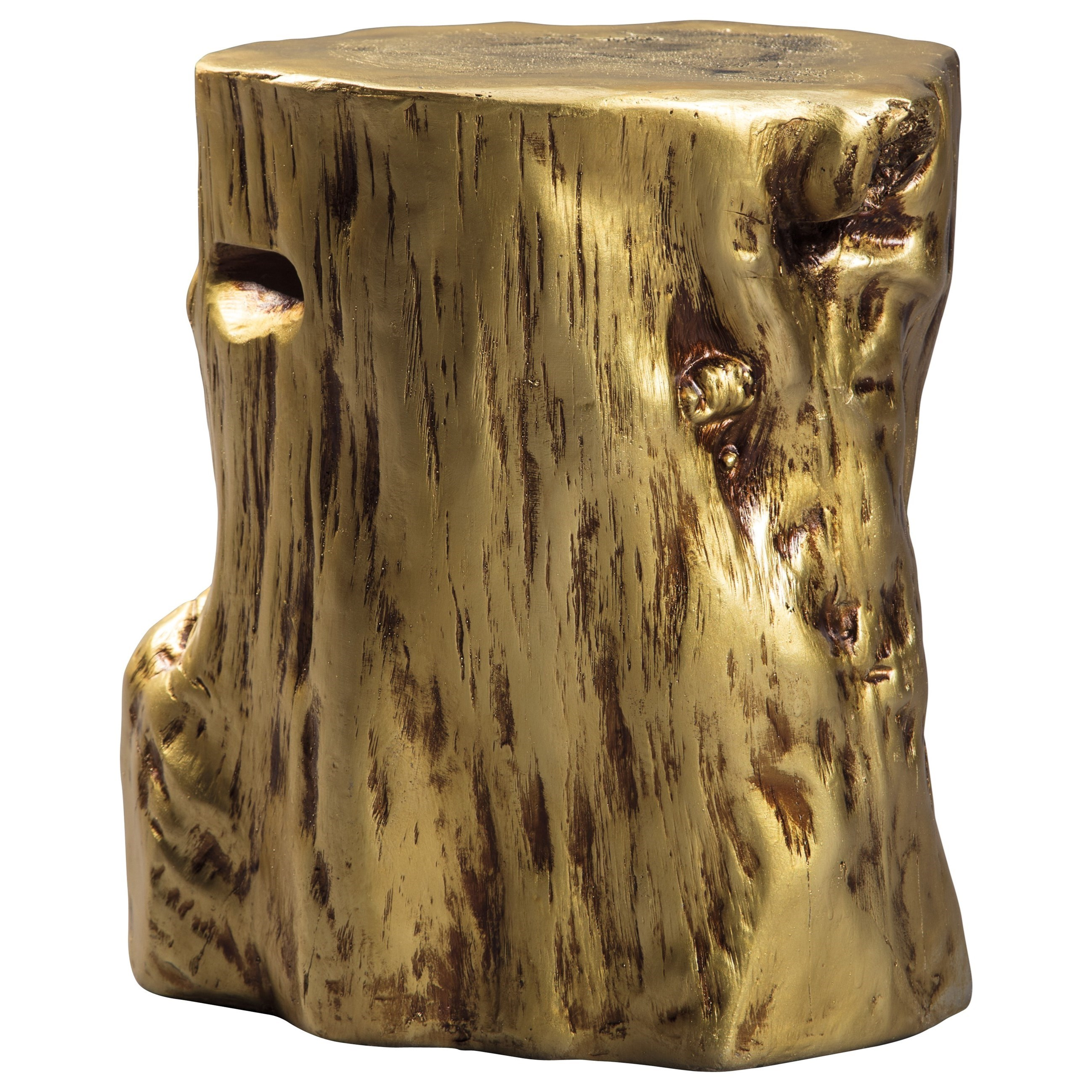 Gold Tree Stump Accent Table