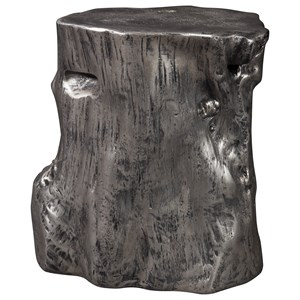 Silver Tree Stump Accent Table
