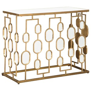 Metal Console Table with Oval Mirrors