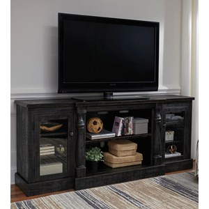 Rustic Black Finish XL TV Stand with Turned Pilasters