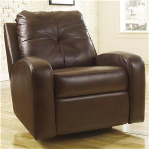 Signature Design by Ashley Mannix DuraBlend - Espresso Swivel Glider Recliner