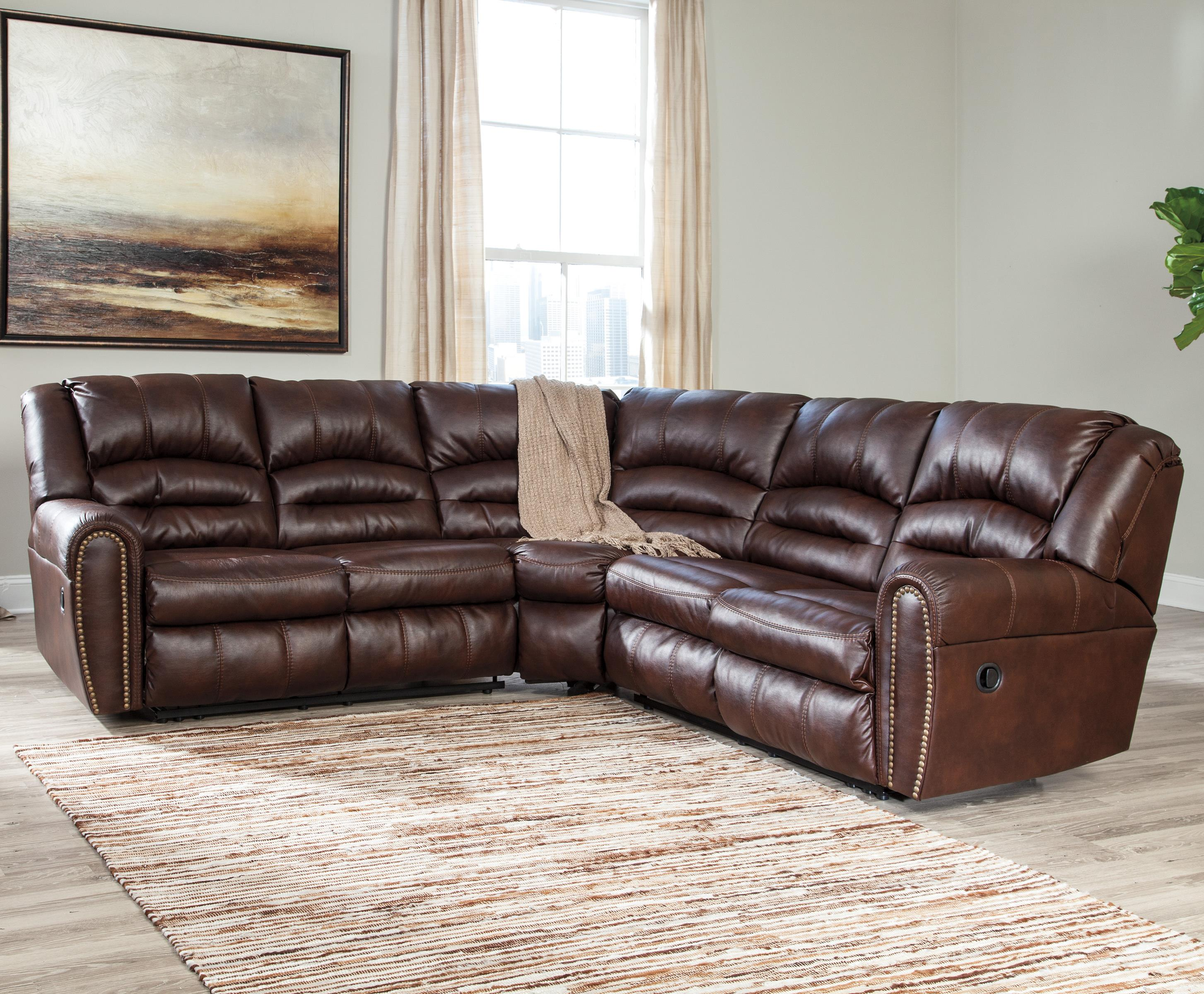 Reclining Sectional with Nailhead Trim & Reclining Sectional with Nailhead Trim by Signature Design by ... islam-shia.org