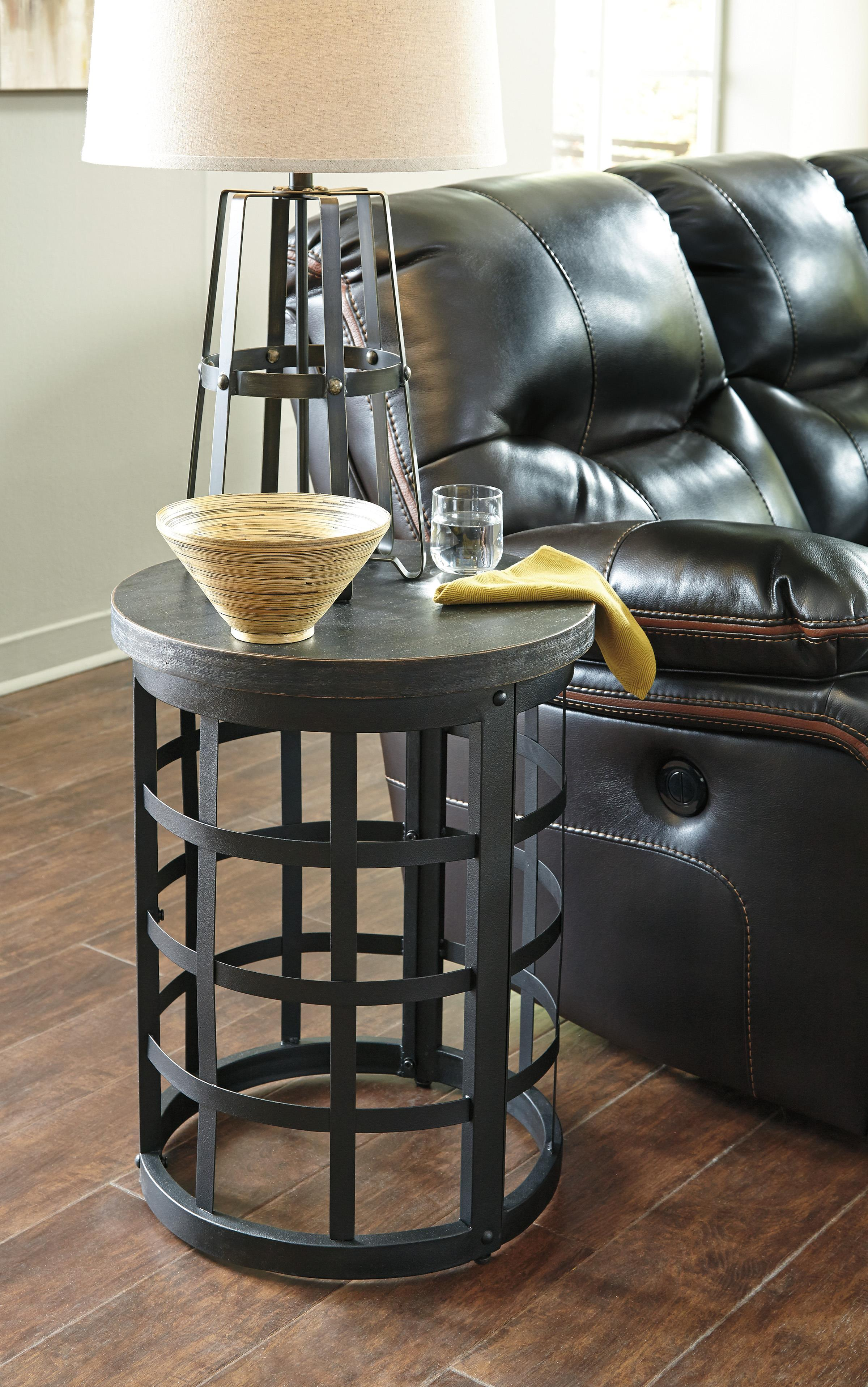 Round End Table With Industrial Style Metal Base By