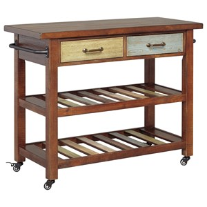 Multicolor Kitchen Cart with Locking Casters
