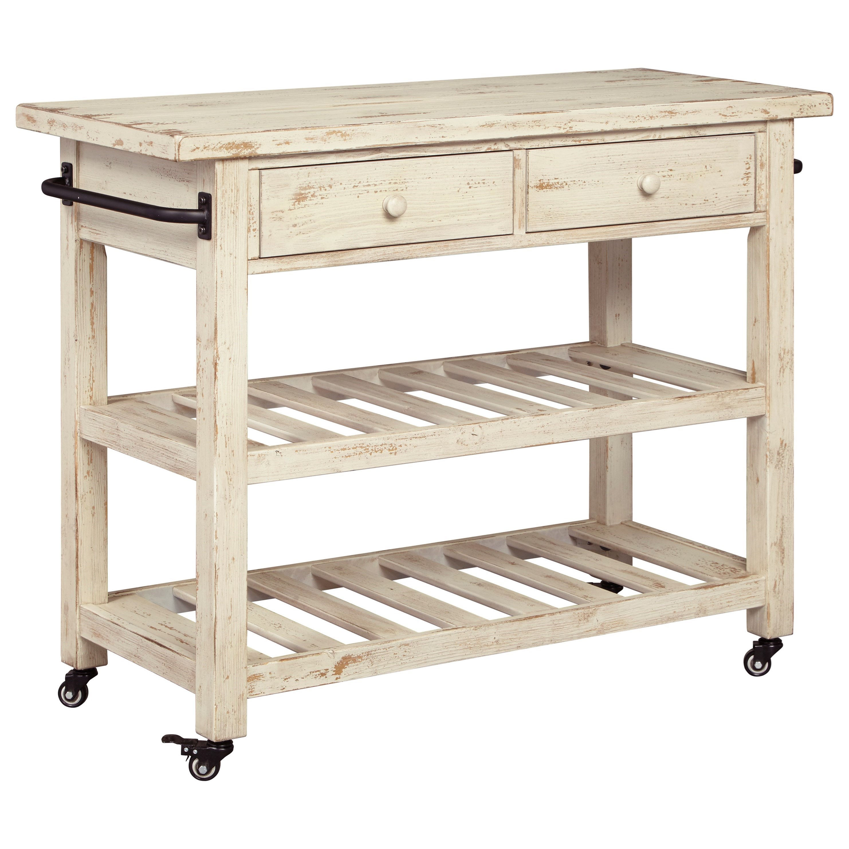 kitchen islands and carts furniture distressed white finish kitchen cart with locking casters 24833