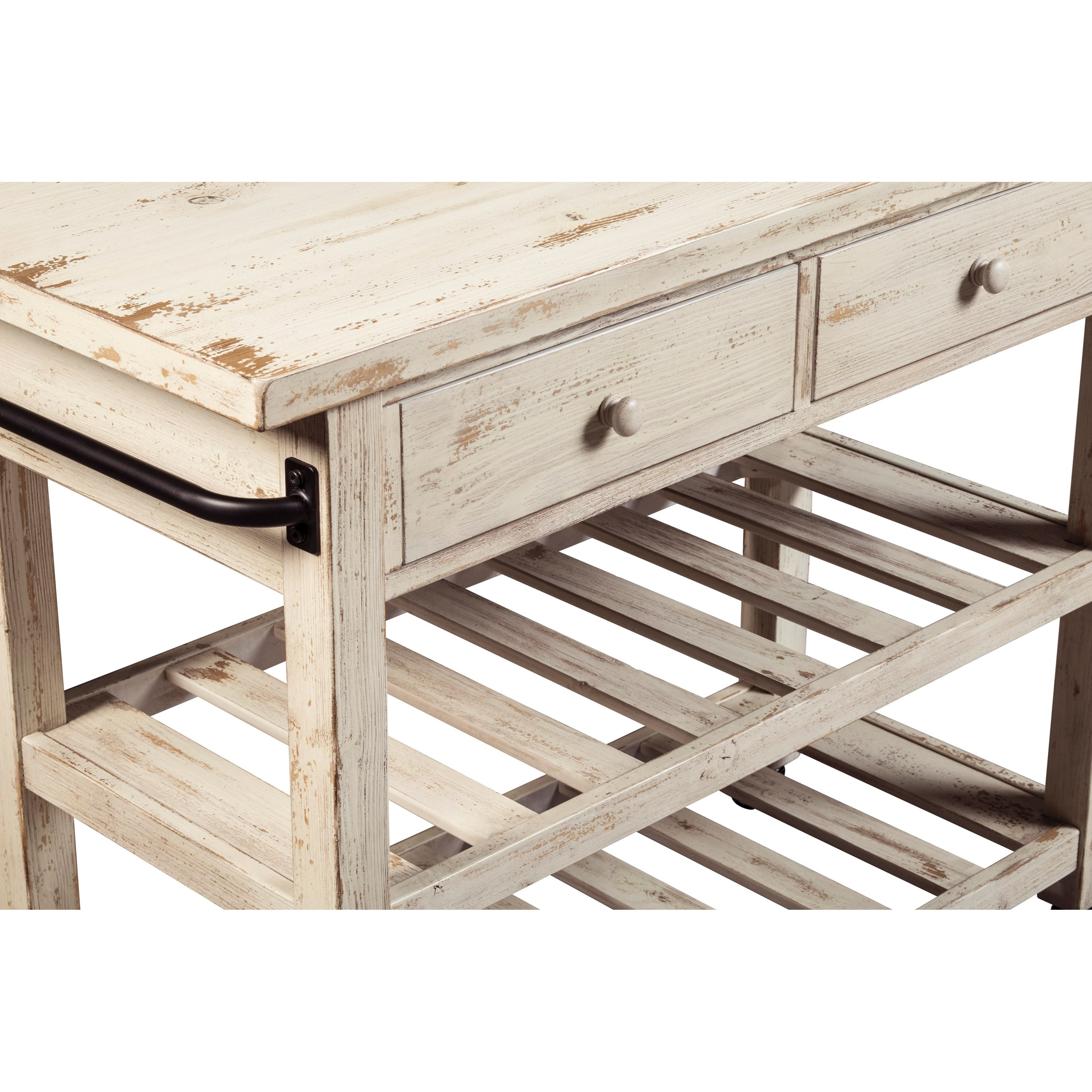 Distressed White Finish Kitchen Cart with Locking Casters by