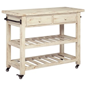 Distressed White Finish Kitchen Cart with Locking Casters