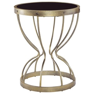 Vintage Gold Finish Round End Table with Tempered Black Glass Top