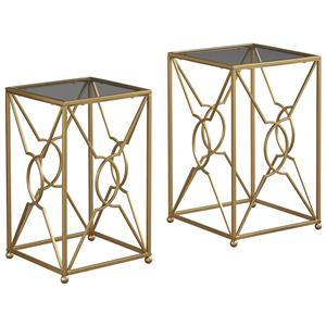 Contemporary Gold Finish Nesting End Tables with Clear Glass Tops