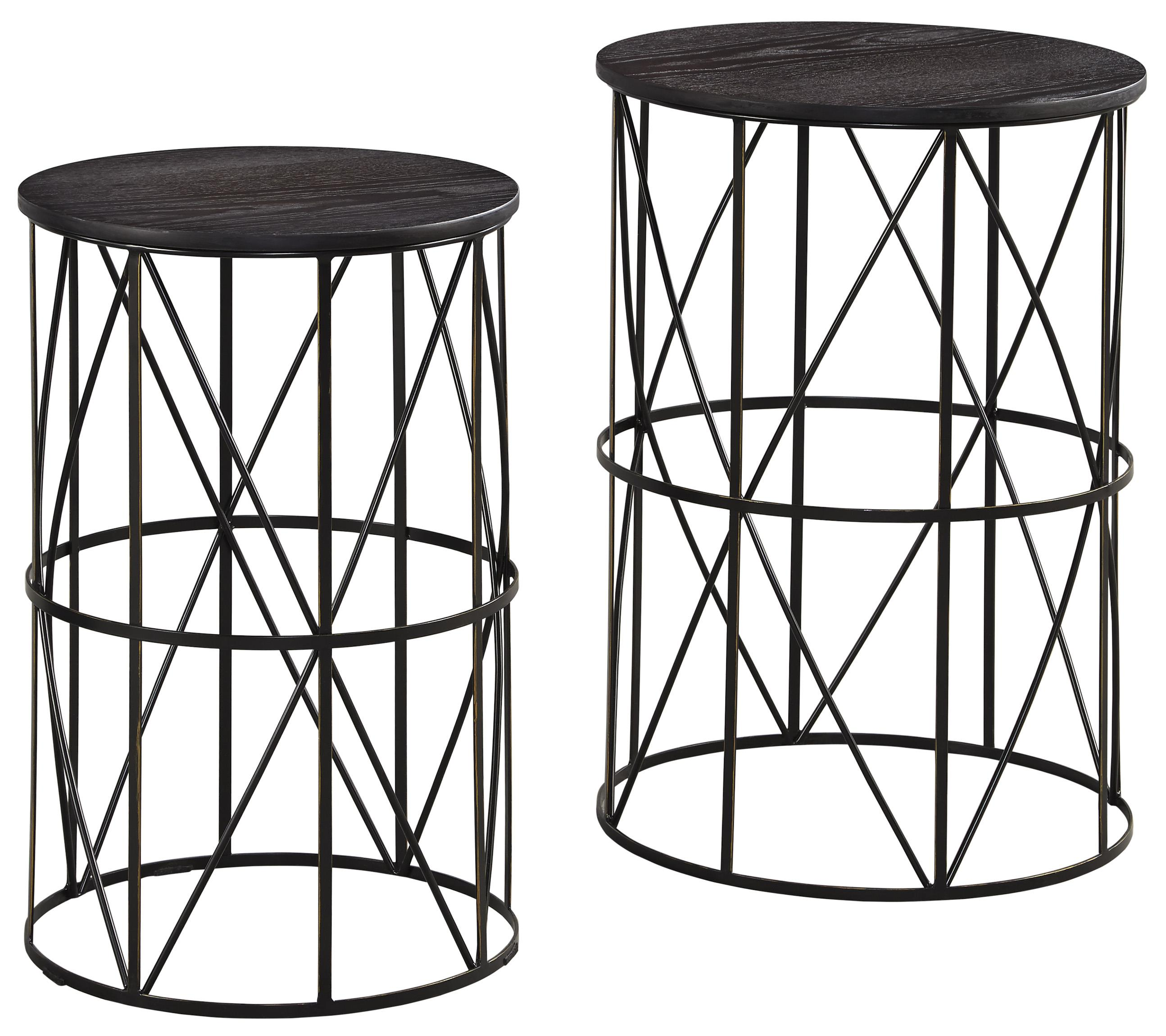 Charmant Black Finish Wire Metal Nesting End Tables With Espresso Finish Wood Tops