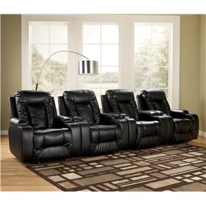 Contemporary 4 Piece Theater Seating Group with Power Recline