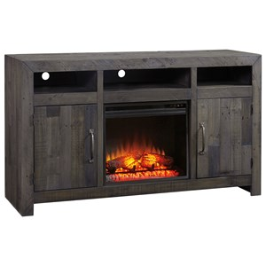 Reclaimed Solid Wood Large TV Stand with Fireplace Insert