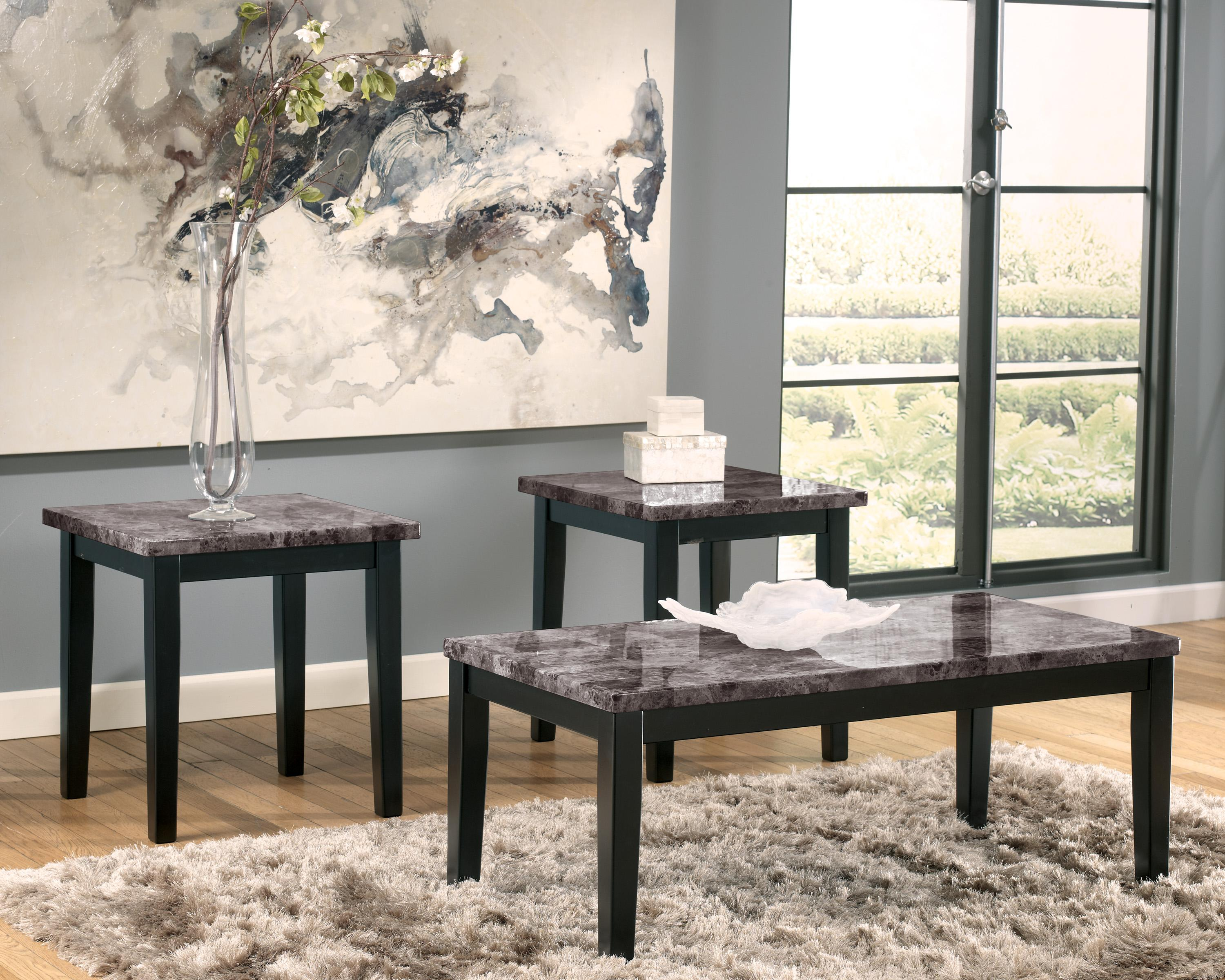 Faux Marble Top 3 Piece Occasional Table Set