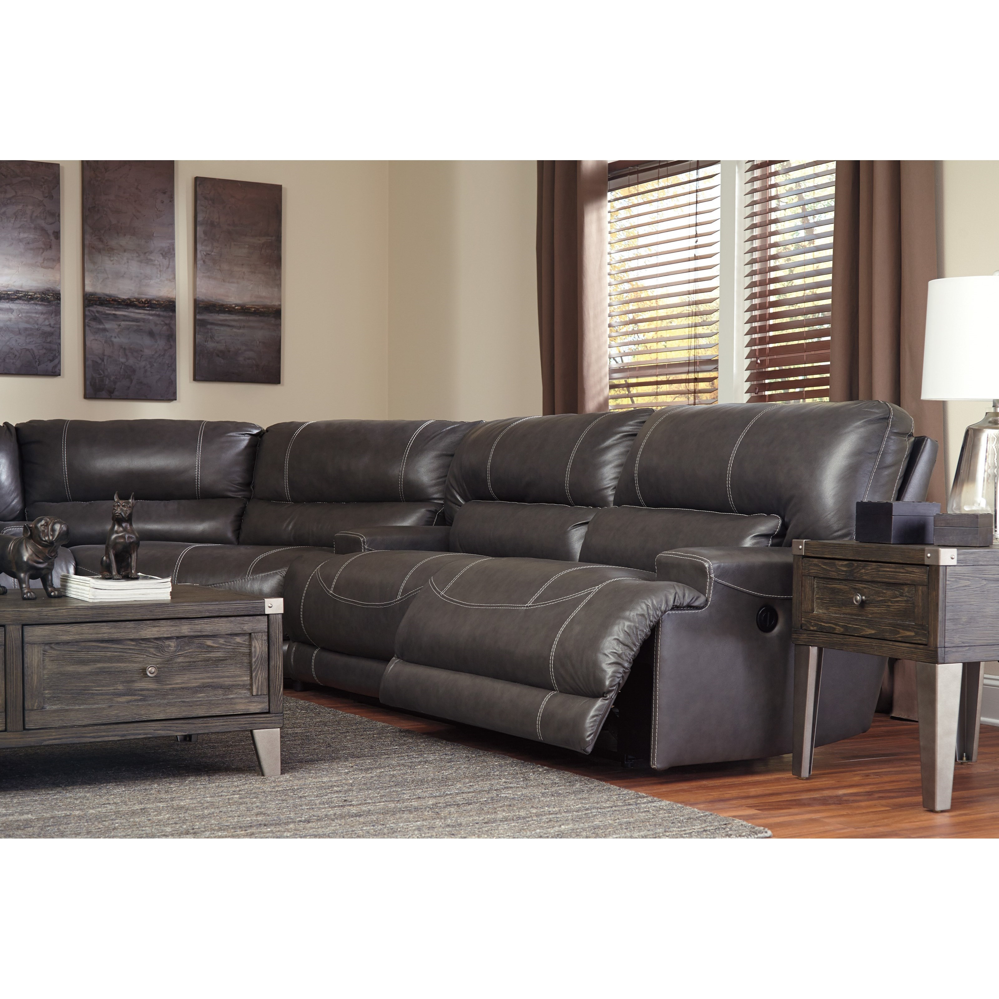 Contemporary Sectional: Contemporary 3-Piece Leather Match Reclining Sectional By