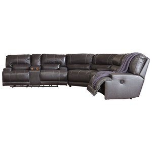Contemporary 3-Piece Leather Match Power Reclining Sectional