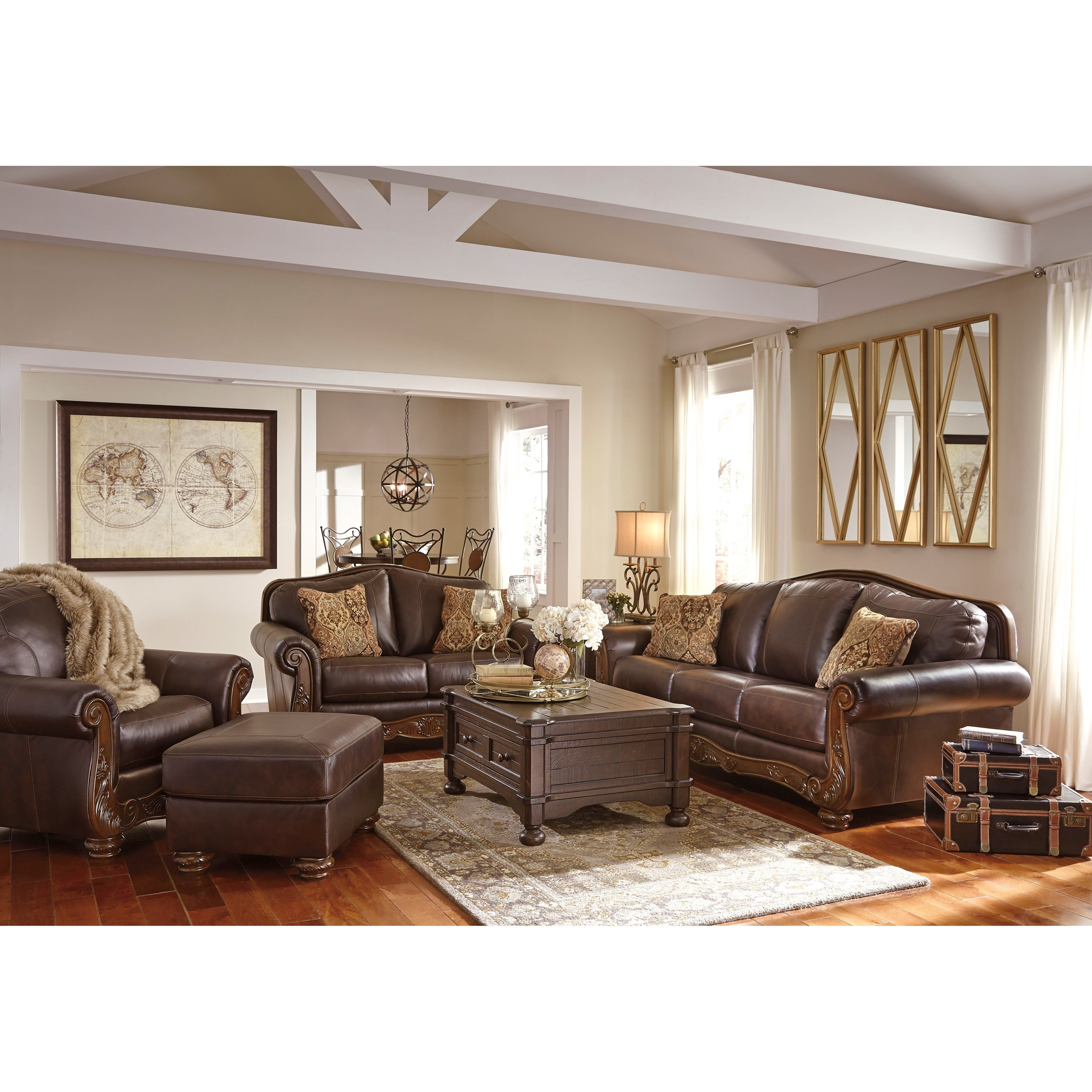 Traditional Leather Match Sofa