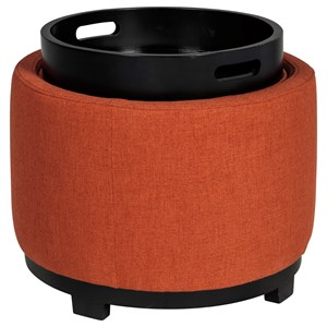 Round Ottoman With Storage/Reversible Tray Top