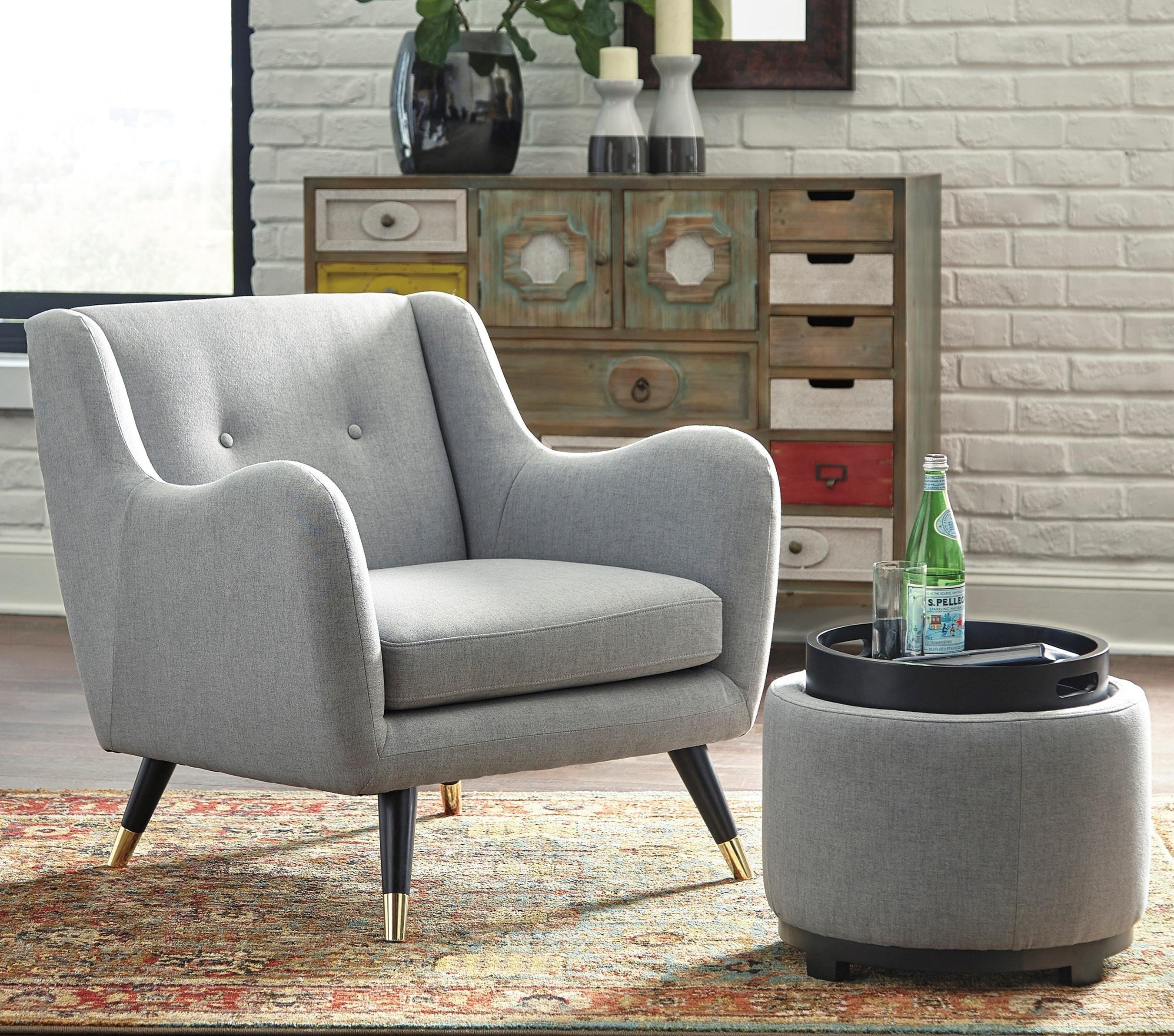 Mid Century Modern Accent Chair Ottoman With Storage