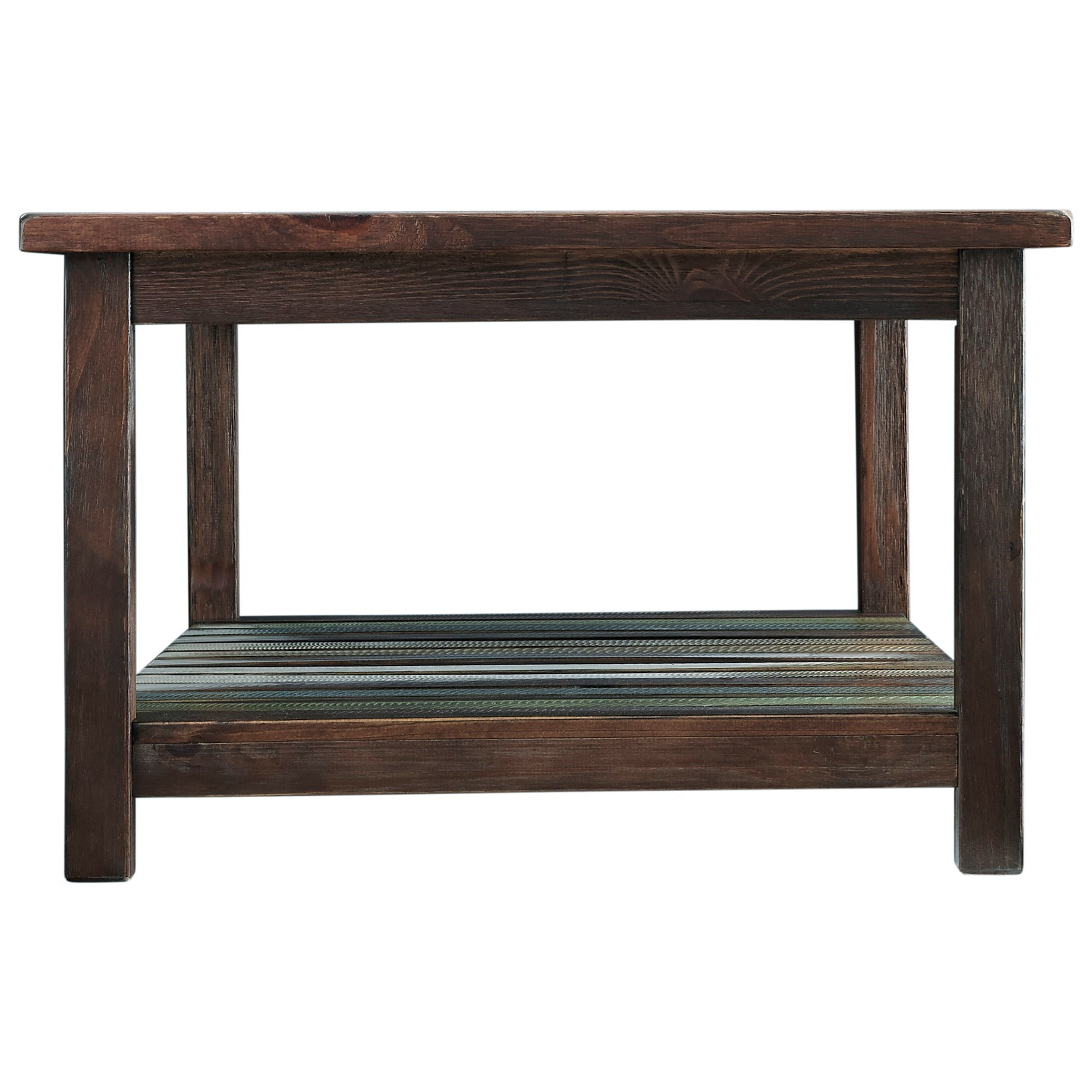 Rectangular Cocktail Table With Colorful Plank Shelf By