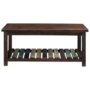 Rectangular Cocktail Table with Colorful Plank Shelf