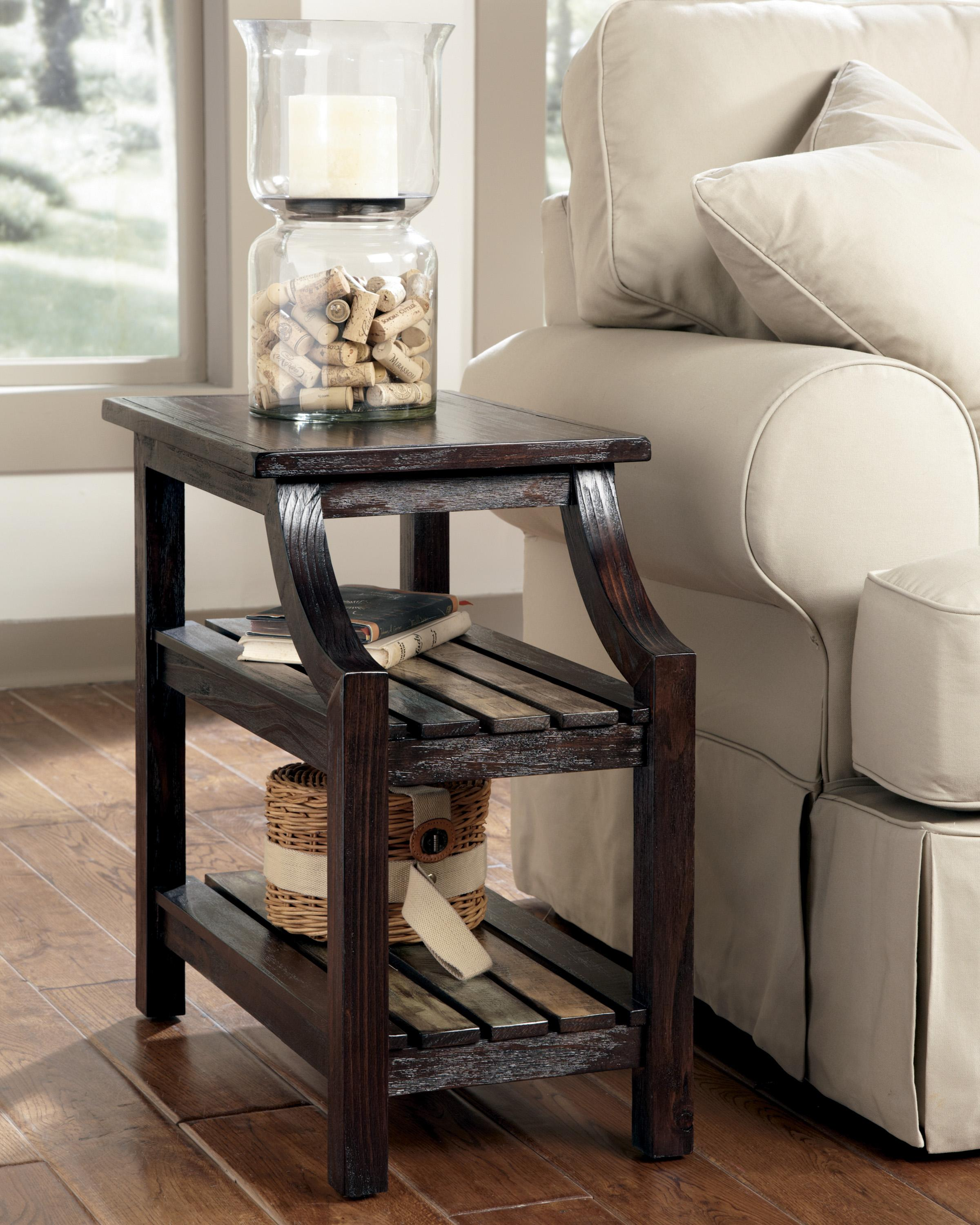 Chairside End Table with Colorful Plank Shelves by Signature