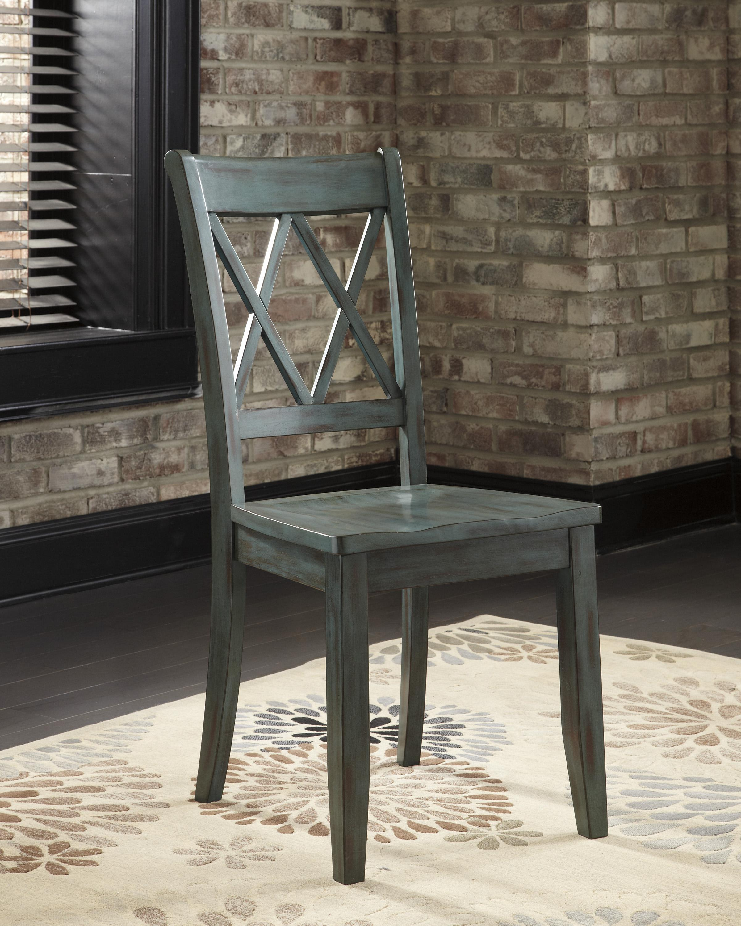 Antique Blue Green Dining Room Side Chair by Signature Design by